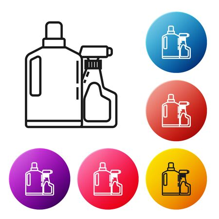 Black line Plastic bottles for liquid laundry detergent, bleach, dishwashing liquid or another cleaning agent icon isolated on white background. Set icons colorful circle buttons. Vector Illustration