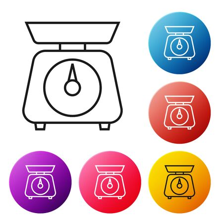 Black line Scales icon isolated on white background. Weight measure equipment. Set icons colorful circle buttons. Vector Illustration