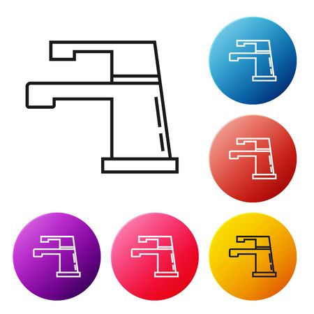 Black line Water tap icon isolated on white background. Set icons colorful circle buttons. Vector Illustration