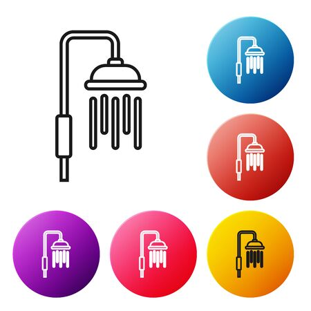 Black line Shower head with water drops flowing icon isolated on white background. Set icons colorful circle buttons. Vector Illustration 向量圖像