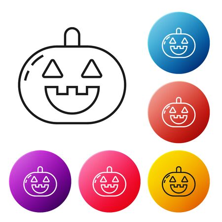Black line Pumpkin icon isolated on white background. Happy Halloween party. Set icons colorful circle buttons. Vector Illustration