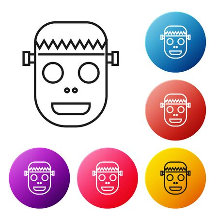 Black line Zombie mask icon isolated on white background. Happy Halloween party. Set icons colorful circle buttons. Vector Illustration