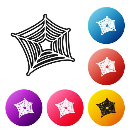 Black line Spider web icon isolated on white background. Cobweb sign. Happy Halloween party. Set icons colorful circle buttons. Vector Illustration