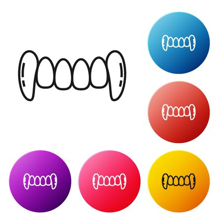 Black line Vampire teeth icon isolated on white background. Happy Halloween party. Set icons colorful circle buttons. Vector Illustration Ilustrace