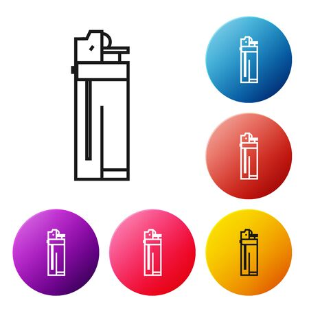 Black line Lighter icon isolated on white background. Set icons colorful circle buttons. Vector Illustration Foto de archivo - 134505153