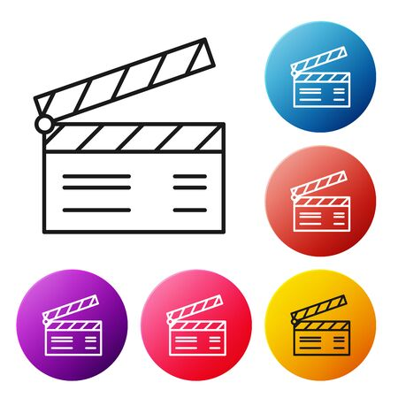 Black line Movie clapper icon isolated on white background. Film clapper board. Clapperboard sign. Cinema production or media industry concept. Set icons colorful circle buttons. Vector Illustration