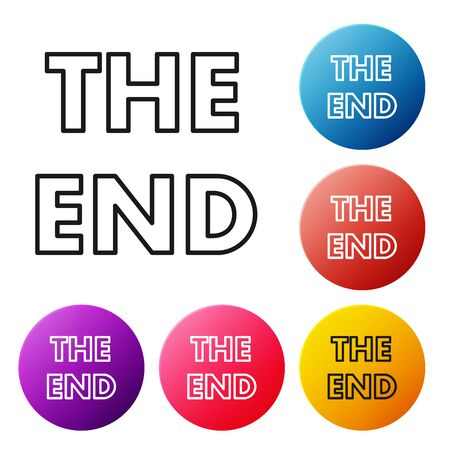 Black line The End handwritten inscription icon isolated on white background. Closing movie frame. Movie ending screen. Set icons colorful circle buttons. Vector Illustration