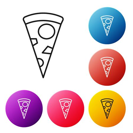 Black line Slice of pizza icon isolated on white background. Set icons colorful circle buttons. Vector Illustration