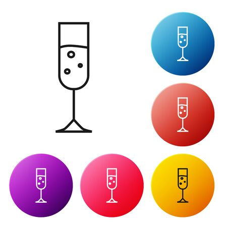 Black line Glass of champagne icon isolated on white background. Set icons colorful circle buttons. Vector Illustration Illustration