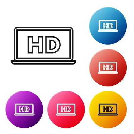 Black line Laptop screen with HD video technology icon isolated on white background. Set icons colorful circle buttons. Vector Illustration