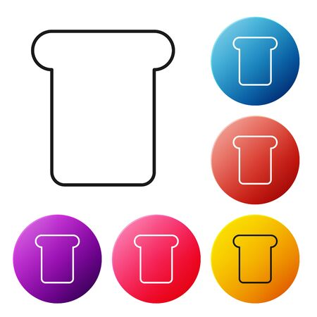 Black line Bread toast for sandwich piece of roasted crouton icon isolated on white background. Lunch, dinner, breakfast snack. Set icons colorful circle buttons. Vector Illustration