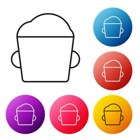 Black line Bakery bowl dough icon isolated on white background. Set icons colorful circle buttons. Vector Illustration