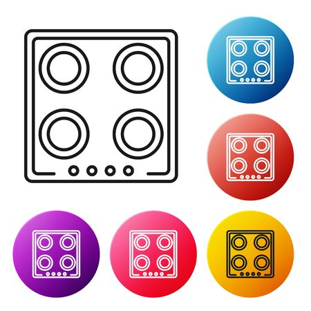 Black line Gas stove icon isolated on white background. Cooktop sign. Hob with four circle burners. Set icons colorful circle buttons. Vector Illustration Foto de archivo - 134504952