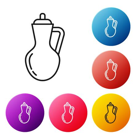 Black line Bottle of olive oil icon isolated on white background. Jug with olive oil icon. Set icons colorful circle buttons. Vector Illustration Vettoriali
