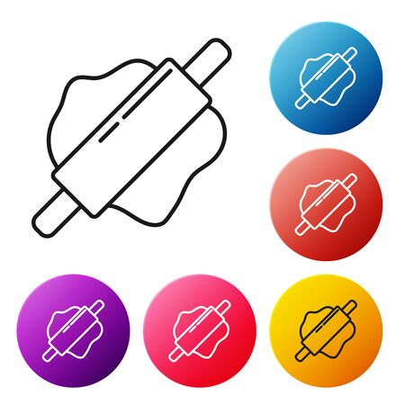 Black line Rolling pin icon isolated on white background. Set icons colorful circle buttons. Vector Illustration