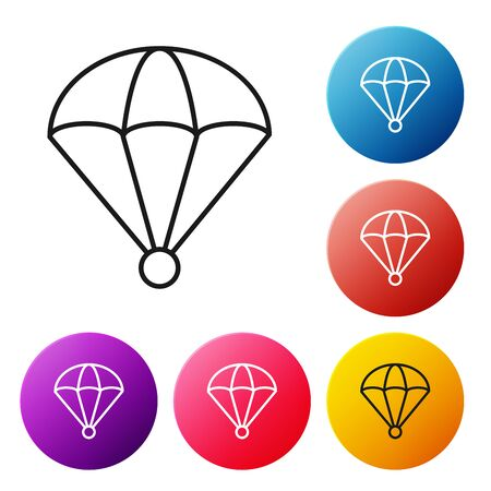 Black line Parachute icon isolated on white background. Set icons colorful circle buttons. Vector Illustration