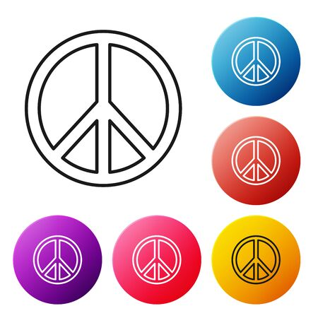 Black line Peace icon isolated on white background. Hippie symbol of peace. Set icons colorful circle buttons. Vector Illustration