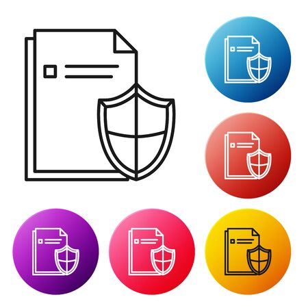 Black line Document protection concept icon isolated on white background. Confidential information and privacy idea, secure, guard, shield. Set icons colorful circle buttons. Vector Illustration