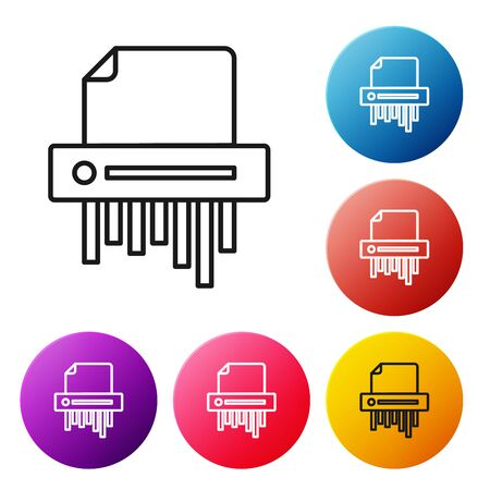 Black line Paper shredder confidential and private document office information protection icon isolated on white background. Set icons colorful circle buttons. Vector Illustration Stock fotó - 134505380