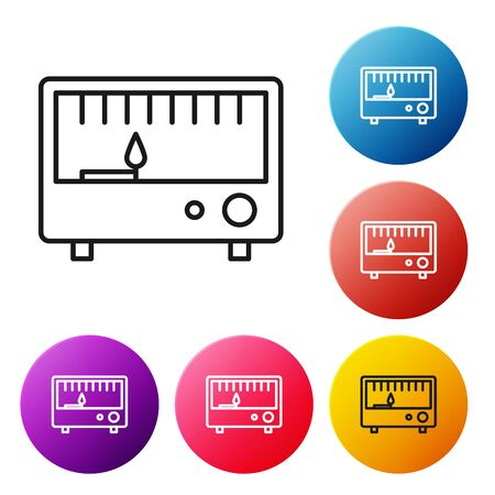 Black line Electrical measuring instruments icon isolated on white background. Analog devices. Electrical appliances. Set icons colorful circle buttons. Vector Illustration