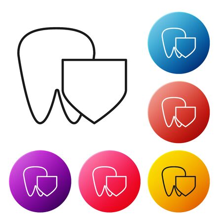 Black line Tooth with shield icon isolated on white background. Dental insurance. Security, safety, protection, protect concept. Set icons colorful circle buttons. Vector Illustration