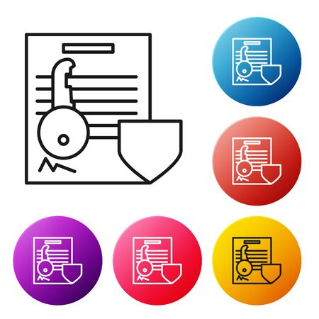 Black line Document with key with shield icon isolated on white background. Key insurance. Security, safety, protection, protect concept. Set icons colorful circle buttons. Vector Illustration