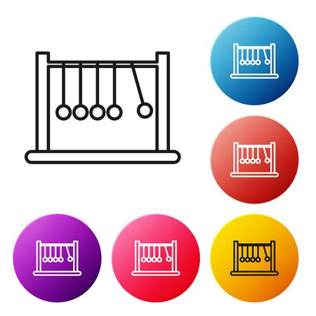Black line Pendulum icon isolated on white background. Newtons cradle. Set icons colorful circle buttons. Vector Illustration 矢量图像