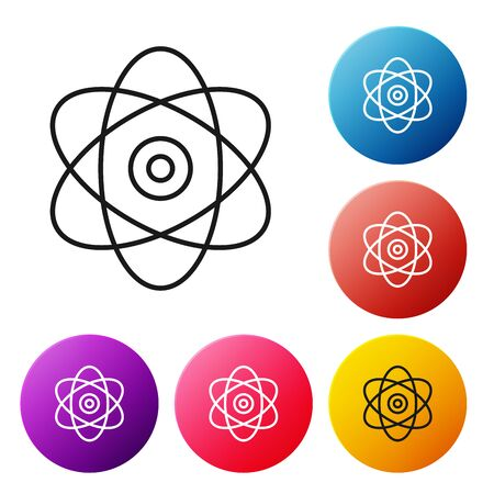 Black line Atom icon on white background. Symbol of science, education, nuclear physics, scientific research. Electrons and protons sign. Set icons colorful circle buttons. Vector Illustration