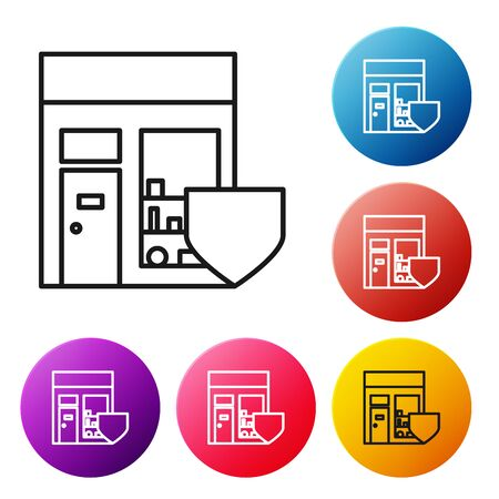 Black line Shopping building with shield icon isolated on white background. Insurance concept. Security, safety, protection, protect concept. Set icons colorful circle buttons. Vector Illustration
