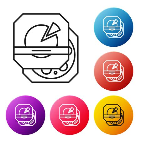 Black line Pizza in cardboard box icon isolated on white background. Box with layout elements. Set icons colorful circle buttons. Vector Illustration