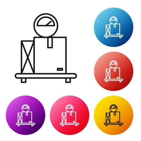 Black line Scale with cardboard box icon isolated on white background. Logistic and delivery. Weight of delivery package on a scale. Set icons colorful circle buttons. Vector Illustration Illusztráció