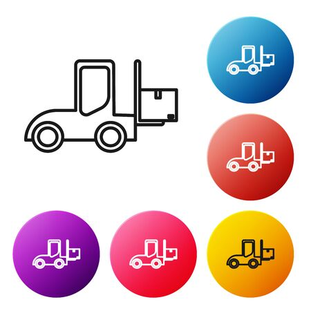 Black line Forklift truck icon isolated on white background. Fork loader and cardboard box. Cargo delivery, shipping, transportation. Set icons colorful circle buttons. Vector Illustration