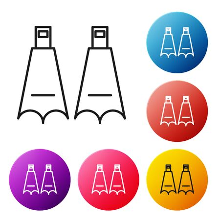 Black line Rubber flippers for swimming icon isolated on white background. Diving equipment. Extreme sport. Diving underwater equipment. Set icons colorful circle buttons. Vector Illustration