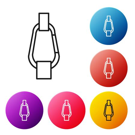 Black line Carabiner icon isolated on white background. Extreme sport. Sport equipment. Set icons colorful circle buttons. Vector Illustration