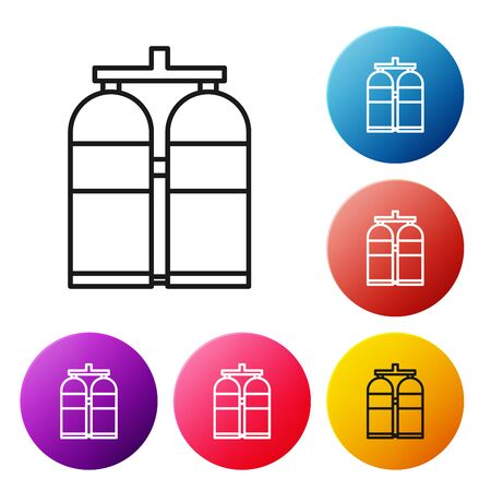 Black line Aqualung icon isolated on white background. Oxygen tank for diver. Diving equipment. Extreme sport. Diving underwater equipment. Set icons colorful circle buttons. Vector Illustration