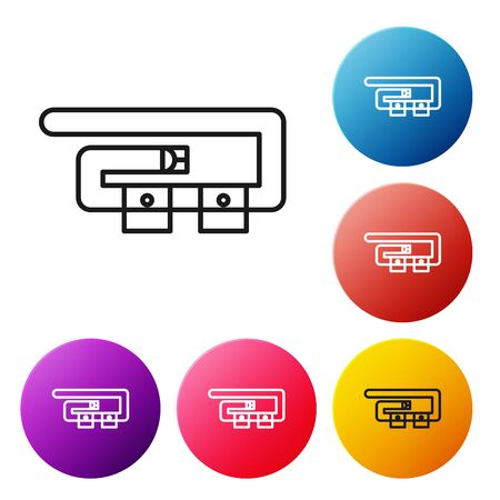Black line Diving belt icon isolated on white background. Scuba gear. Diving underwater equipment. Set icons colorful circle buttons. Vector Illustration Ilustracja