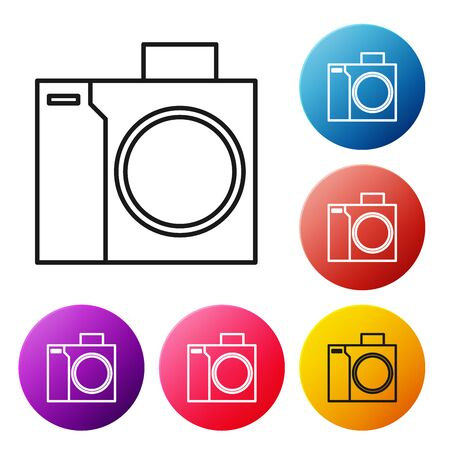 Black line Photo camera for diver icon isolated on white background. Foto camera icon. Diving underwater equipment. Set icons colorful circle buttons. Vector Illustration