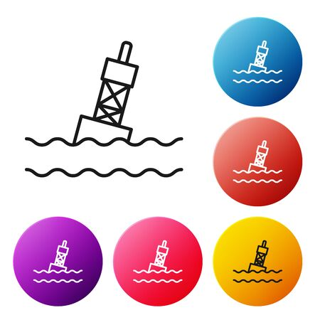 Black line Floating buoy on the sea icon isolated on white background. Set icons colorful circle buttons. Vector Illustration