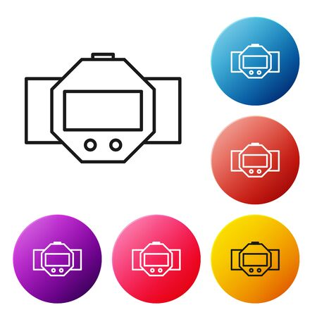 Black line Diving watch icon isolated on white background. Diving underwater equipment. Set icons colorful circle buttons. Vector Illustration