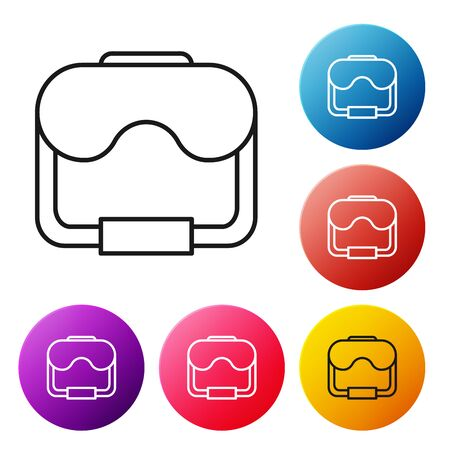 Black line Diving mask icon isolated on white background. Extreme sport. Diving underwater equipment. Set icons colorful circle buttons. Vector Illustration