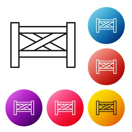 Icône en bois de clôture de jardin de ligne noire isolée sur fond blanc. Définir des boutons de cercle coloré d'icônes. Illustration vectorielle