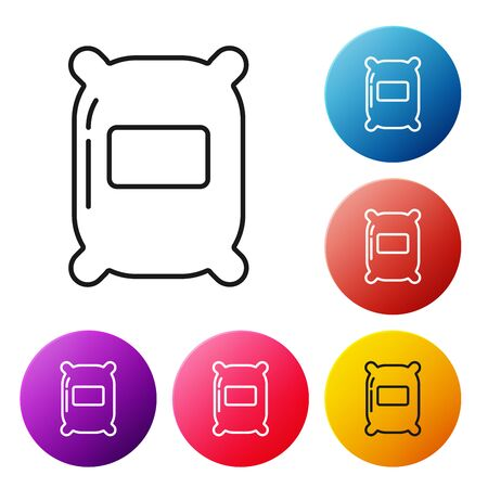Black line Bag of flour icon isolated on white background. Set icons colorful circle buttons. Vector Illustration