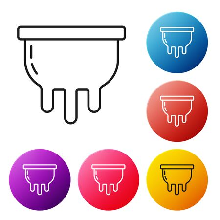 Black line Udder icon isolated on white background. Set icons colorful circle buttons. Vector Illustration Foto de archivo - 134509536