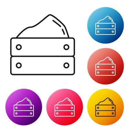 Black line Wooden box with harvest icon isolated on white background. Set icons colorful circle buttons. Vector Illustration Foto de archivo - 134509537