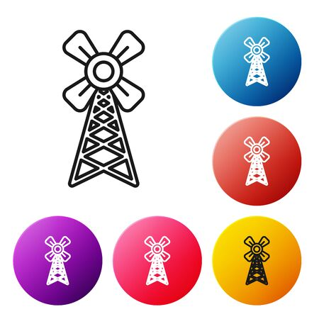 Black line Windmill icon isolated on white background. Set icons colorful circle buttons. Vector Illustration