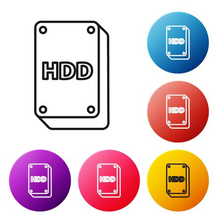 Black line Hard disk drive HDD icon isolated on white background. Set icons colorful circle buttons. Vector Illustration