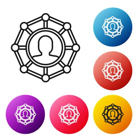 Black line Project team base icon isolated on white background. Business analysis and planning, team work, project management. Developers. Set icons colorful circle buttons. Vector Illustration