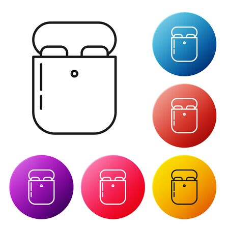 Black line Air headphones in box icon icon isolated on white background. Holder wireless in case earphones garniture electronic gadget. Set icons colorful circle buttons. Vector Illustration Çizim