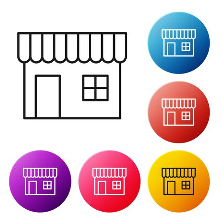 Black line Shopping building or market store icon isolated on white background. Shop construction. Set icons colorful circle buttons. Vector Illustration Illustration