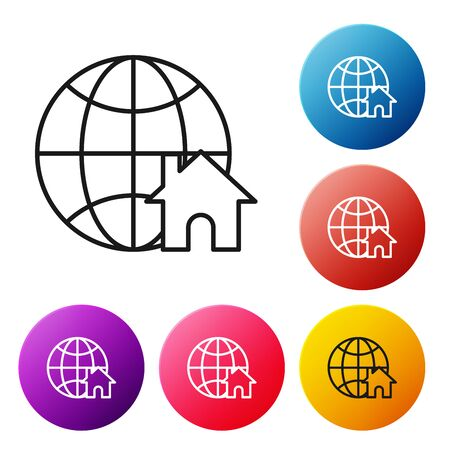 Black line Globe with house symbol icon isolated on white background. Real estate concept. Set icons colorful circle buttons. Vector Illustration